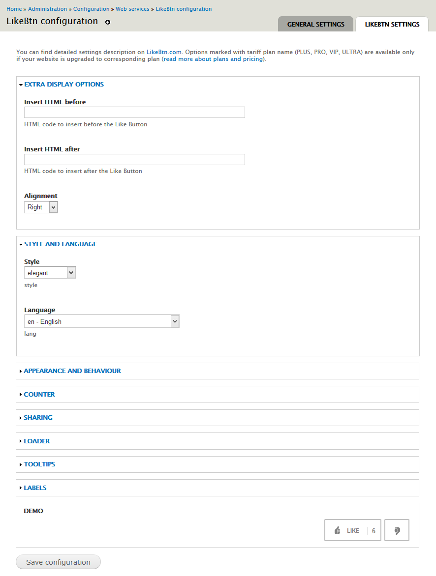 Drupal Like Button module - LikeBtn
