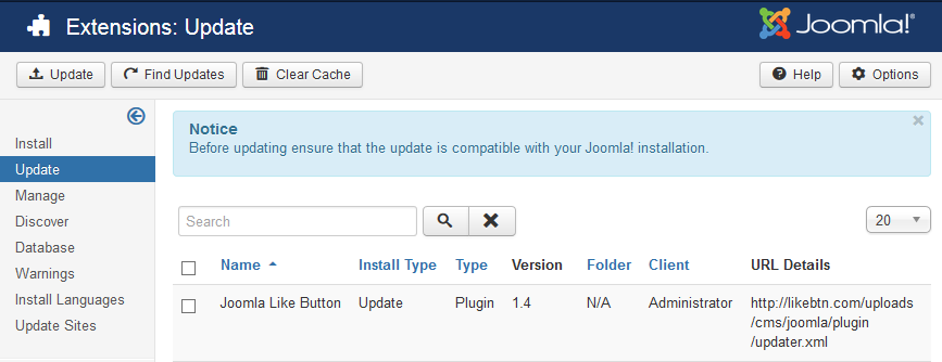 Joomla Like Button Update